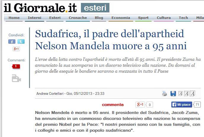 IL PADRE DELL'APARTHEID NELSON MANDELA MUORE A 95 ANNI